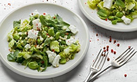Bean, pea and feta salad