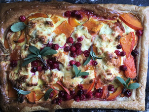 Red Onion Squash Tart with Goats Cheese, Cranberry, Sage and Honey