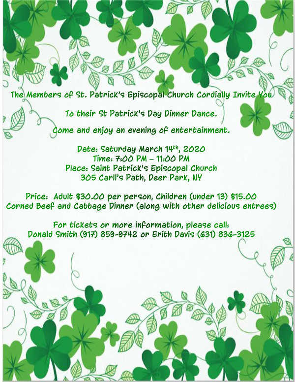 2020 St Patricks Day Flyer for web site.