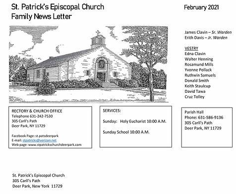 St Patricks February Newsletter Front Pa