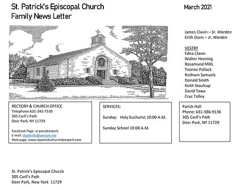 St Patricks March Newsletter Front Page