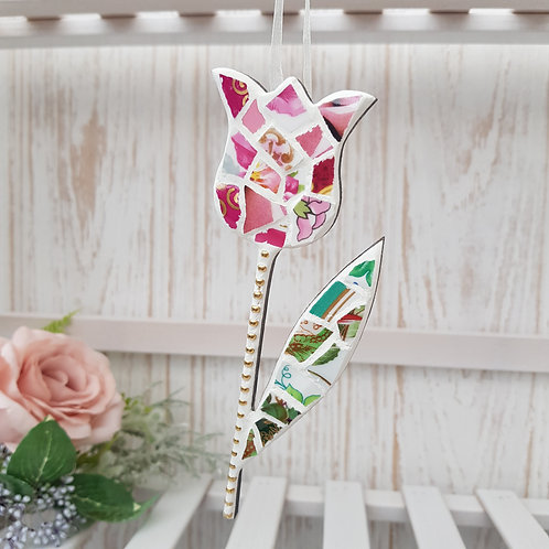 Hanging Tulip in Pinks and Green Fine China - version 3
