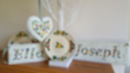 Personalised name plaques and hanging heart made from Grandma's old china