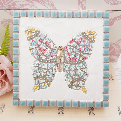 Vintage Butterfly Wall Plaque in Blues, Pinks and Yellows