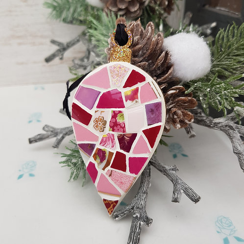 Fine China Mosaic Christmas Drop Bauble in Gorgeous Pinks