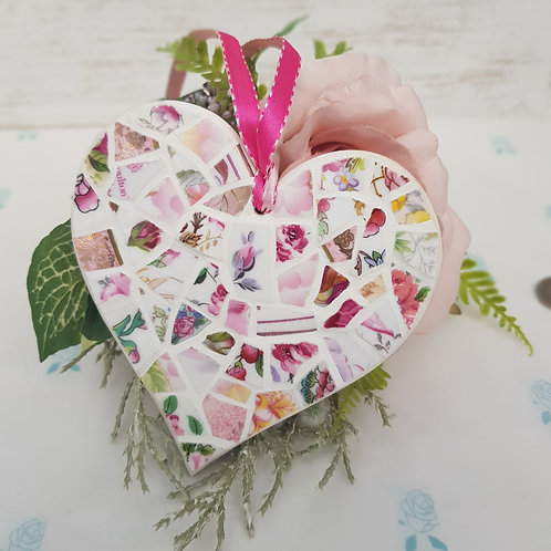 Pink Fine China Hanging Heart