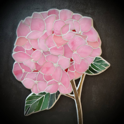 Pink Hydrangea in stained glass