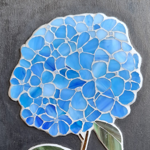 Blue Hydrangea in stained glass