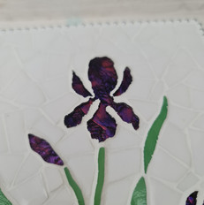 Hand cut Iris flower in stained glass