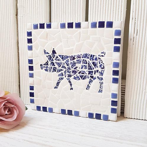 Blue and White Pig Plaque