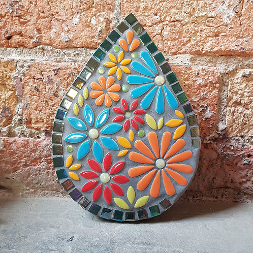 Garden Art - Tear Drop Multicolour Flower Mosaic - Indoor/Outdoor