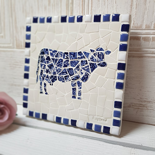 Blue and White Cow silhouette Pot Stand/Wall Plaque