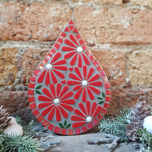 Red Flower Flame Floral Garden Mosaic - Indoor/Outdoor Art