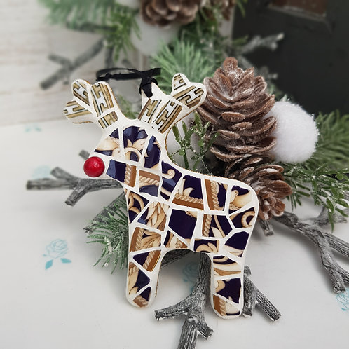 Reindeer Mosaic Decoration in Navy Blue and Gold