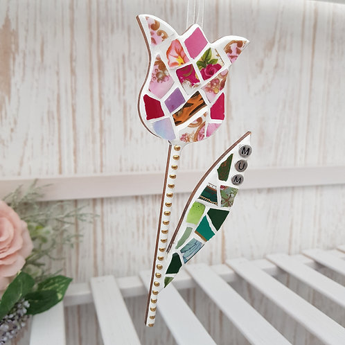 Mum - Hanging Tulip in Pink and Green