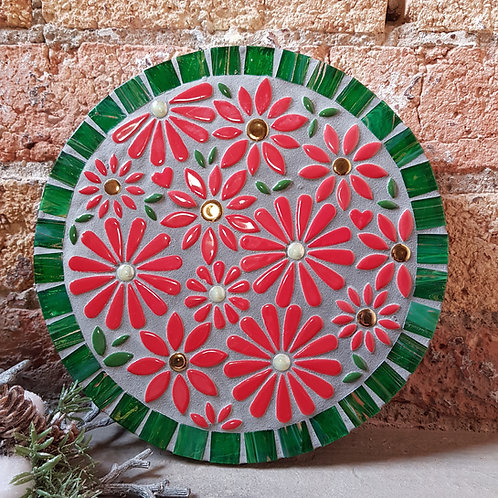 """""""Festive Flowers"""" Garden Mosaic (26 cm) in Green and Red"""