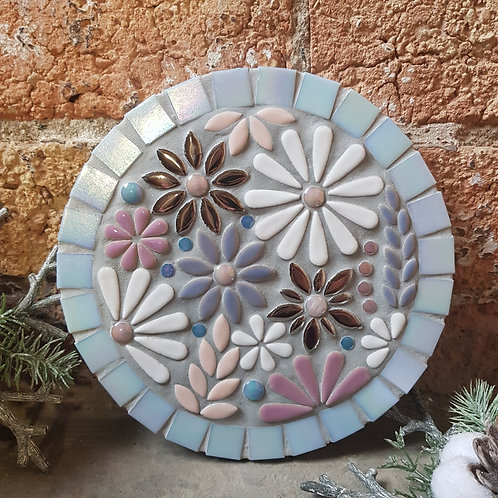 Winter Flower Garden Mosaic (21 cm) in Pinks, Blues and Whites