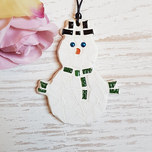 Mosaic Snowman with Green Scarf
