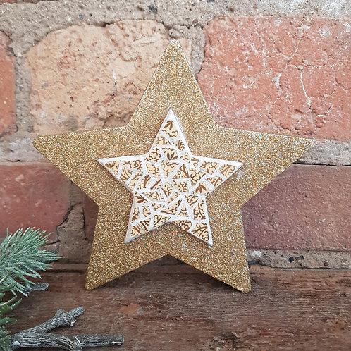 Gold Freestanding Star Mosaic