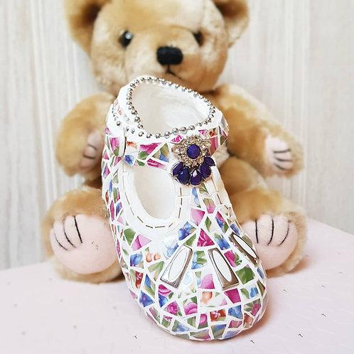 China mosaic covered baby shoe