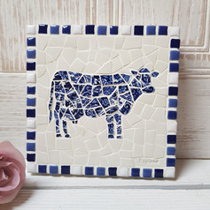 Blue and White China Cow Plaque