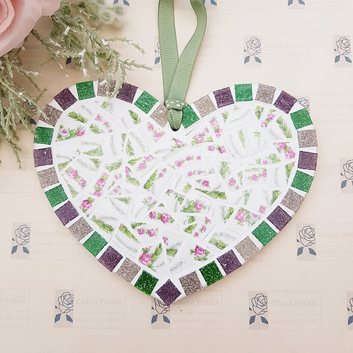 Wide Hanging Heart in Green and Pinks
