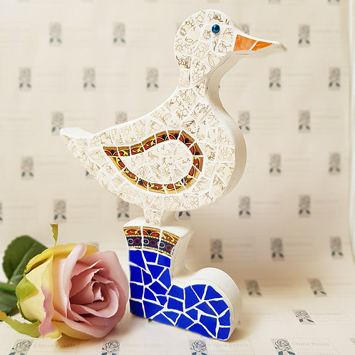 Duck in Blue Wellies - free standing china mosaic