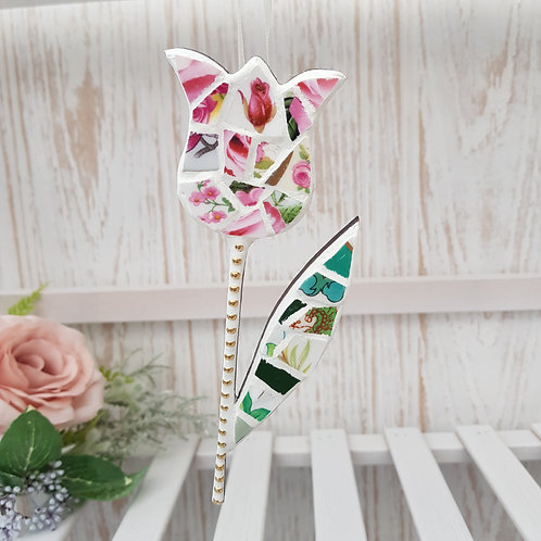 Hanging Tulip in Pink and Green with Feature Rose Fine China