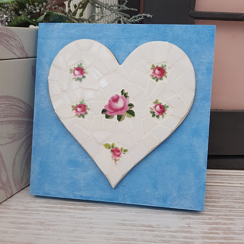 Fine China Mosaic Heart Plaque With Pink Roses