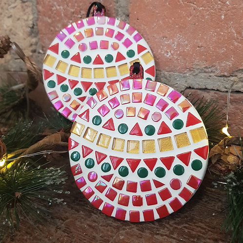 Flat Mosaic Baubles - red, gold and green