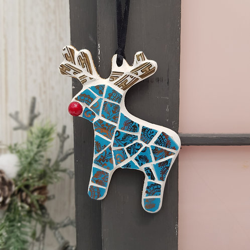 Reindeer Mosaic Decoration in Turquoise Blue and Gold