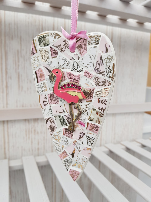 Flamingo Hanging Heart in Pink and White