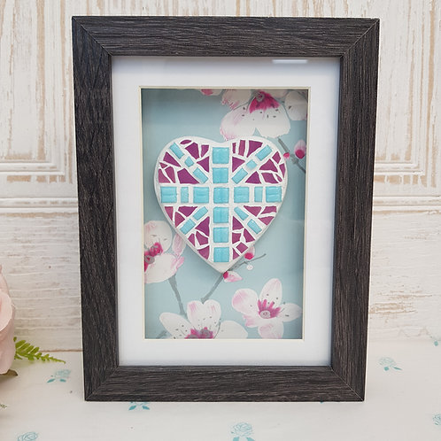 Union Jack heart Mosaic in Pinks and Blues