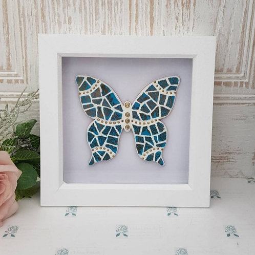 Turquoise and Gold Framed Mosaic Butterfly