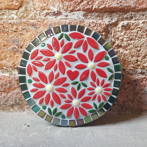 Red Flower Garden Mosaic (16 cm)
