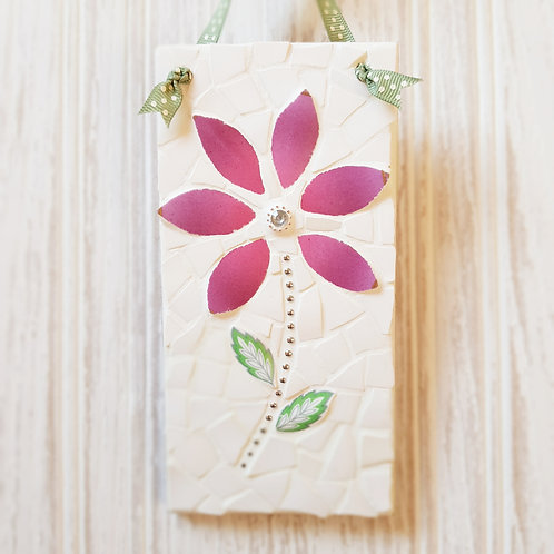 Simple Pink Flower China Mosaic Plaque