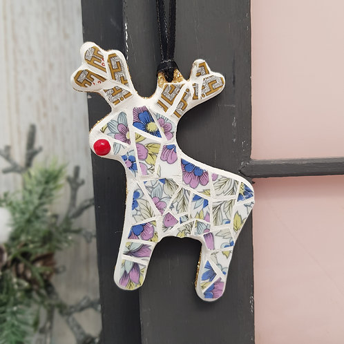 Reindeer Mosaic Decoration in Blues, Purples and Greens