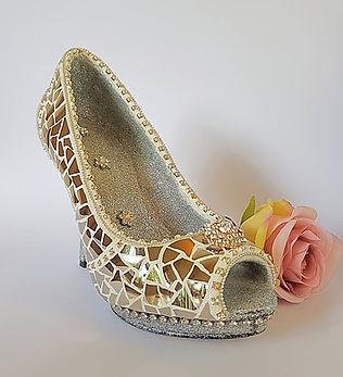 Silver slipper, china mosaic shoe by China Petals