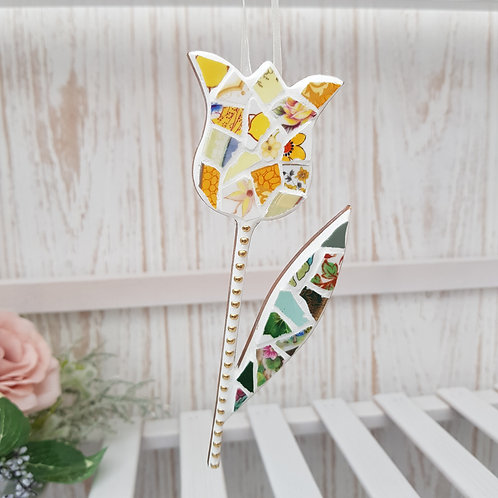 Hanging Tulip in Yellow and Green Fine China