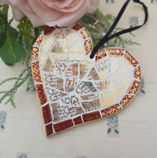Gold and Burgundy hanging heart