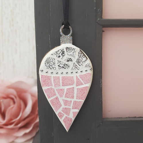 Pink and Silver Christmas Drop Bauble