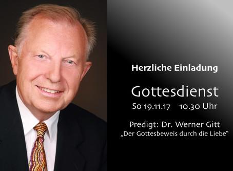 Dr. Werner Gitt predigt am 19.11.17