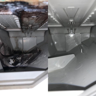 Before and after of the inside of the washine machine draw.