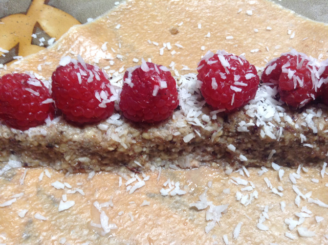 Raw Cashew, Cacao and Date Crepe with Fresh Raspberries