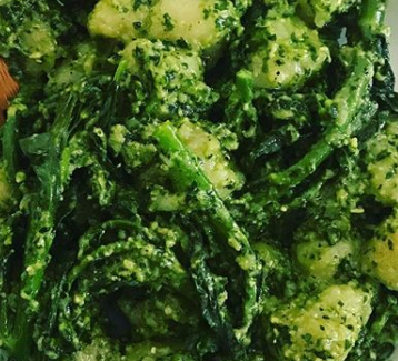 Cauliflower Gnocci and Broccolini Salad With Walnut Pesto