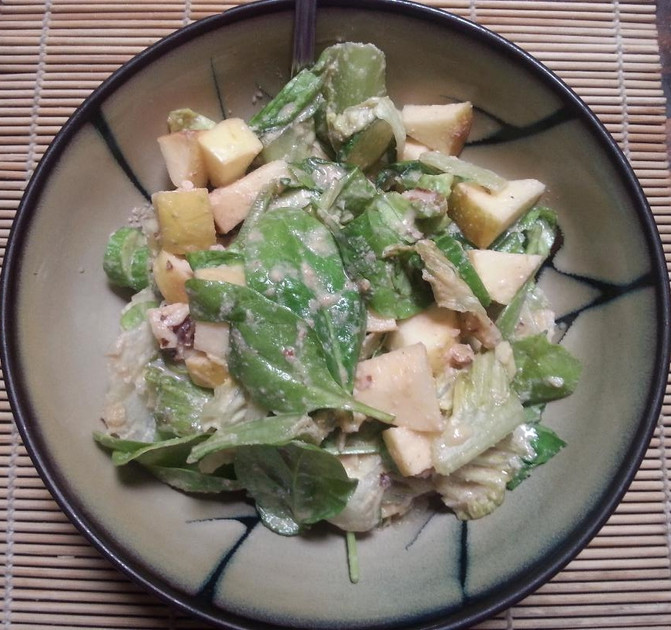 Apple Walnut Cucumber Salad with Orange Ginger Dressing