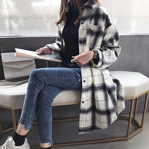 2020  Plaid Mid-Length Shirt Women's Plus Size BF Retro Loose Slim Coat
