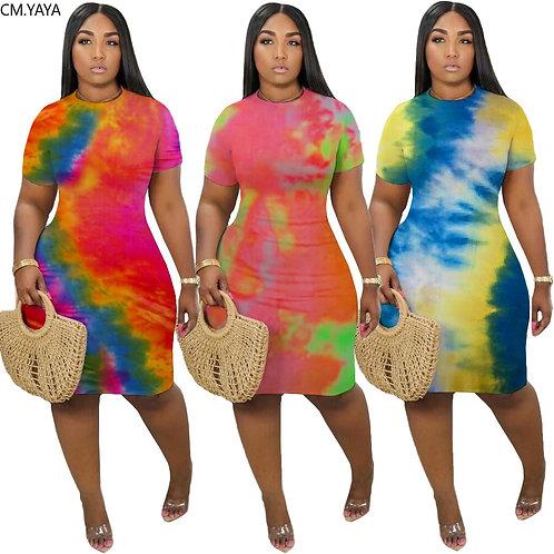 Tie Dye Print O-Neck Short Sleeve Body-con Midi Dress Knee Length Pencil Dresses