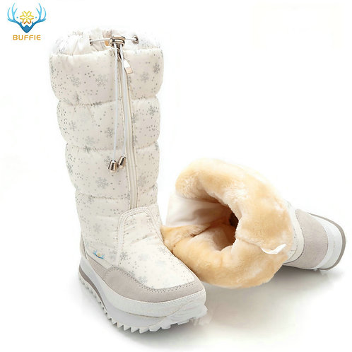 Snow Winter Boots High Plush  White Zip Shoes Female Hot Boots