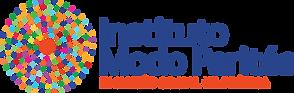 O logo do Instituto Modo Parités lembra uma mandala, tendo no centro um círculo irregular de cor laranja quase avermelhada, com dezenas de outras círculos menores e coloridos em torno do núcleo, passando uma mensagem de união e diversidade. O texto do logo é: Instituto Modo Parités - Inclusão Social na Prática.